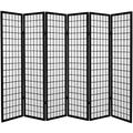 Oriental Furniture 6 ft. Tall Canvas Window Pane Room Divider - Black - 6 Panels
