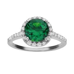 Sophie Miller Simulated Emerald and Cubic Zirconia Sterling Silver Halo Ring, Women's, Size: 9, Green