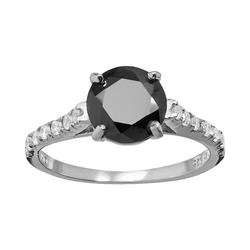 Sophie Miller Black and White Cubic Zirconia Sterling Silver Ring, Women's, Size: 9