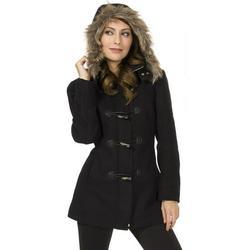 Womens Hooded Parka Coat Faux Fur Trim Toggle Button Wool Blazer Overcoat Jacket Black 2XL
