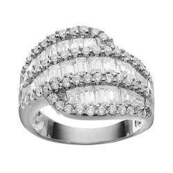 Sophie Miller Tapered Cubic Zirconia Baguette Sterling Silver Ring, Women's, Size: 9, White