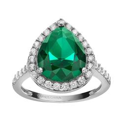 Sophie Miller Simulated Emerald and Cubic Zirconia Sterling Silver Halo Ring, Women's, Size: 5, Green