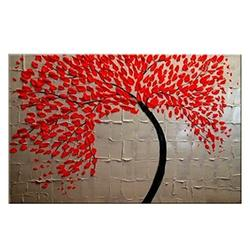 Wieco Art Red Flower Oil Paintings on Canvas Wall Art Ready to Hang for Living Room Bedroom Kitchen Home Decorations Large Modern 100% Hand Painted Stretched and Framed Abstract Floral Artwork L