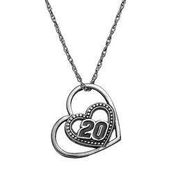 """""""Insignia Collection NASCAR Matt Kenseth """"""""20"""""""" Stainless Steel Heart Pendant Necklace, Women's, Size: 18"""""""", Grey"""""""