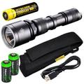 EdisonBright Nitecore MH25 CREE XM-L U2 LED 960 Lumen USB Rechargeable Flashlight, 18650 rechargeable Li-ion protected battery, USB charging cable and Holster with 2 X CR123A lithium Batteries bundle