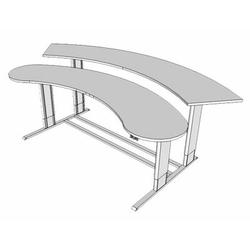 Populas Furniture Infinity Height Adjustable Half-Circle Standing Desk Converter Metal in Brown, Size 27.0 H x 72.0 W x 44.0 D in   Wayfair