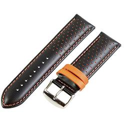 22mm Rally Perforated Smooth Black/Orange Leather Interchangeable Watch Band Strap