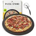 Heritage Pizza Stone - Pizza & Bread Baking Stones For Gas Grill, Oven Baking - Black Ceramic Pan, Stainless, No-Smoke - Wheel Pizza Cutter - Housewarming Gifts