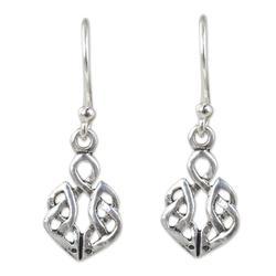 Sterling silver dangle earrings, 'Celtic Dara Knot'