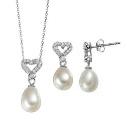 """""""Freshwater Cultured Pearl & Cubic Zirconia Sterling Silver Heart Pendant Necklace & Drop Earring Set, Women's, Size: 18"""""""", White"""""""