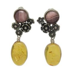 Amber and rhodochrosite flower earrings, 'Flowers of Harmony'