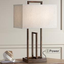 Lite Source Farren 2-Outlet Dark Bronze Table Lamp