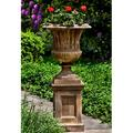 "Campania International Smithsonian Cast Stone Urn Planter, Concrete in Red/Brown/Gray, Size 27""H X 22""W X 22""D 