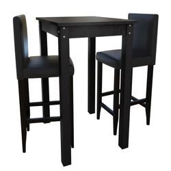vidaXL Set de 1 table de bar et 2 tabourets noir