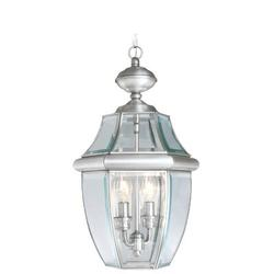 Livex Lighting Monterey 2 Light Outdoor Hanging Lantern Glass/Metal in Gray, Size 19.0 H x 10.5 W x 10.5 D in   Wayfair 2255-91
