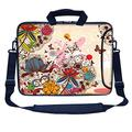 """Meffort Inc 17 17.3 inch Neoprene Laptop Bag Sleeve with Extra Side Pocket, Soft Carrying Handle & Removable Shoulder Strap for 16"""" to 17.3"""" Size Notebook Computer (Colorful Flower Butterfly)"""