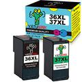 YATUNINK Remanufactured Ink Cartridge Replacement for lexmark 36 37 Ink Cartridge/Lexmark 36xl and 37xl Ink Cartridges for Lexmark X3650 X4650 X5650 X5650es X6650 X6675 Z2420(1Black+1Color)