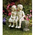 Cute Garden Smooching Children Boy Girl Sitting on Bench Statue Whimsical Flowerbed Yard Outdoor Sculpture Decor
