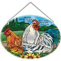 Suncatcher-LO218R-Country French Hens and Rooster/This is the day that the Lord has made; let us rejoice and be