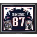 """Rob Gronkowski New England Patriots Fanatics Authentic Deluxe Framed Autographed 36"""" x 44"""" Navy Blue Nike Elite Jersey"""