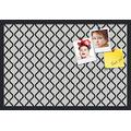 PinPix ArtToFrames 30x20 Inch Custom Cork Bulletin Board. This Waves in Black and White Pin Board Has a Fabric Style Canvas Finish, in a Satin Black Frame (PinPix-194-30x20_FRBW26079)