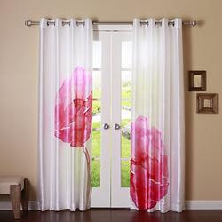 Best Home Fashion Magenta Faux Silk Flower Printed Watercolor Grommet 84-inch Curtain Panel Pair 1 Pair