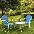 Griffith Metal Chairs & End Table 3-piece Set, Blue