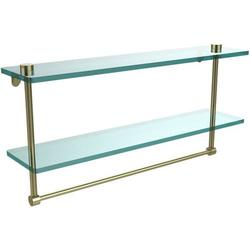 22-in Two Tiered Glass Shelf with Integrated Towel Bar in Satin Brass