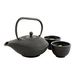 Tetsubin 34 Ounce Cast Iron Teapot, 1 With Strainer Iron Teapot - Retains Heat, Curved Handle, Black Cast Iron Japanese Tea Kettle, Hobnail - Restaurantware