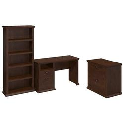 Bush Furniture Home Office Desk w/Bookcase and Lateral File Cabinet Antique Cherry YRK011ANC