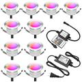 """FVTLED Low Voltage 10pcs Multi-Color RGB LED Deck Lights Kit 1-3/4"""" Stainless Steel Recessed Wood Outdoor Yard Garden Decoration Lamp Patio Stairs Landscape Outdoor Step Lighting"""