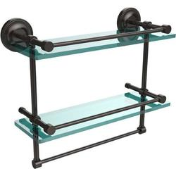 16-in Gallery Double Glass Shelf with Towel Bar in Oil Rubbed Bronze