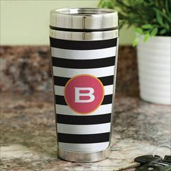 Personalized Black and White Stripes Travel Mug