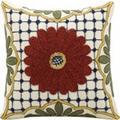 """Nourison Kathy Ireland Pillow Rust Center Flower 18""""x18"""" Pillow"""