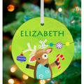 Oopsy Daisy Christmas Time Reindeer Of Cheer Personalized Ornament by Jill McDonald Ceramic/Porcelain in Green, Size 3.0 H x 3.0 W x 0.25 D in