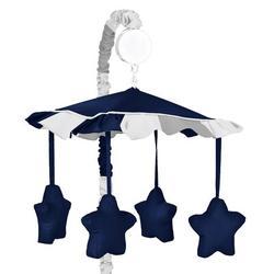 Sweet Jojo Designs Stripe Musical MobileFabric in Blue, Size 25.0 H x 19.0 W x 11.0 D in | Wayfair Mobile-Stripe-NV-GY