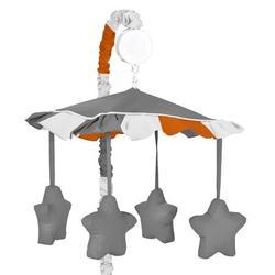 Sweet Jojo Designs Stripe Musical MobileFabric in Orange, Size 25.0 H x 19.0 W x 11.0 D in   Wayfair Mobile-Stripe-GY-OR