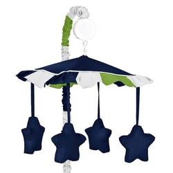 Sweet Jojo Designs Stripe Musical MobileFabric in Blue/White, Size 25.0 H x 19.0 W x 11.0 D in | Wayfair Mobile-Stripe-BU-GR