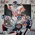 "New England Patriots vs. York Giants Deacon Jones Foundation 48"" x Super Bowl XLII Dueling Giclee on Canvas"