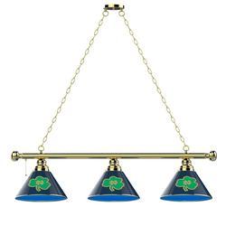 """Brass Notre Dame Fighting Irish Shamrock Billiard Light"""
