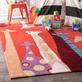 """nuLOOM Colorful Giraffes Nursery Kids Rug, 7' 6"""" x 9' 6"""", Red"""