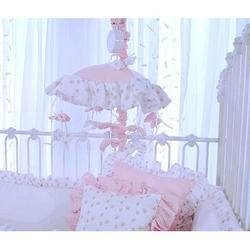 Blueberrie Kids Butterfly Tales Musical MobileFabric in Pink/White, Size 18.0 H x 10.0 W x 10.0 D in   Wayfair 44BFF-MB