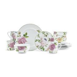 Spode Botanic Garden Terrace Roses 16 Piece Dinnerware Set, Service for 4 Porcelain/Ceramic in Green/Pink/White   Wayfair 1611597