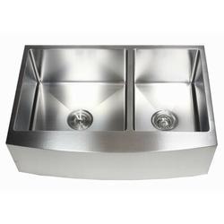 "eModern Decor Ariel 33"" L x 21"" W 60/40 Double Bowl Farmhouse Kitchen SinkStainless Steel in Gray, Size 10.0 H x 33.0 W x 21.0 D in   Wayfair"