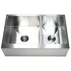 "eModern Decor Ariel 33"" L x 21"" W Stainless Steel 60/40 Double Bowl Farmhouse Kitchen SinkStainless Steel in Gray, Size 10.0 H x 33.0 W x 21.0 D in"