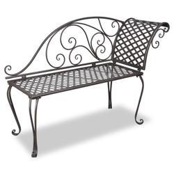 """vidaXL Garden Chaise Lounge 50.4"""" Steel Antique Brown"""