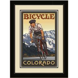 Northwest Art Mall PAL-0600 LFGDM DHB Bicycle Colorado Downhill Biker Mountains Framed Wall Art by Artist Paul A. Lanquist, 20 by 26-Inch