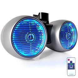 "Waterproof Marine Wakeboard Tower Speakers - 6.5"" Dual Subwoofer Speaker Set and 1.0"" Tweeters, LED Lights and 400 Watt Power - 2-way Boat Audio System with Mounting Bracket - PLMRWB652LES (Silver)"