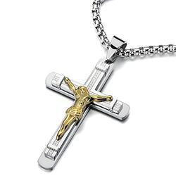 COOLSTEELANDBEYOND Jésus Christ Croix Crucifix Pendentif Collier Homme - Acier - Deux Tons Or et d'argent - avec 75CM Chaîne de Blé