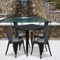 """Flash Furniture Commercial Grade 31.5"""" Square Black Metal Indoor-Outdoor Table Set with 4 Stack Chairs"""